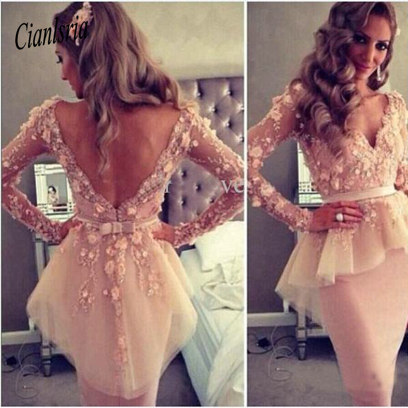 Sexy Sheer V-neck Long Sleeve Organza Sheath Appliques Lace Knee Length Sheath Party   Dresses   For Women Cheap   Cocktail     Dresses