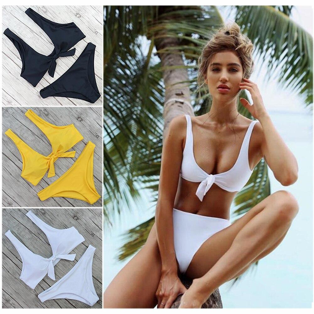 Bikini Swimsuit Bathing-Suits High-Waist Summer Brazilian Thong Push-Up Sexy Knot Women