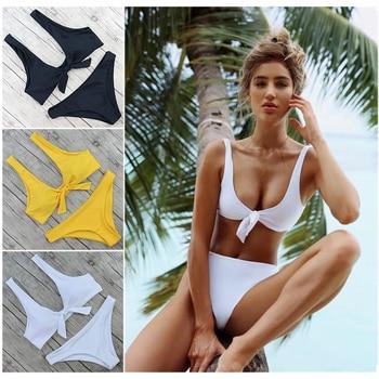 3e57b5661a5f Venta caliente Bikini 2019 Sexy traje de baño de cintura alta Mujer pecho  lazo Push Up traje de baño verano Tanga brasileño trajes de baño