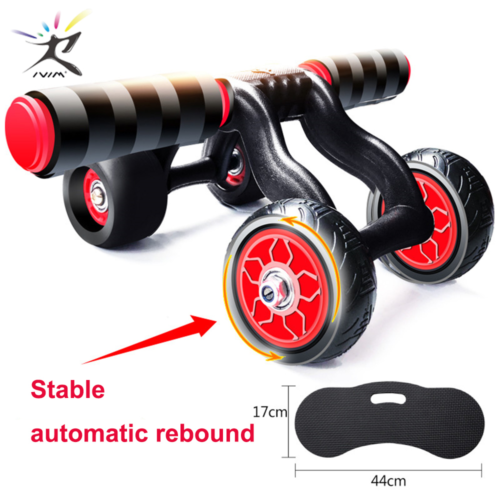 Ab-Roller Training-Equipment Rebound Abdominal-Wheel Fitness Exercise with Mat for Gym