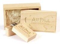 Custom logo Maple wooden wood usb + box usb 2.0 memory flash stick pen drive 2gb