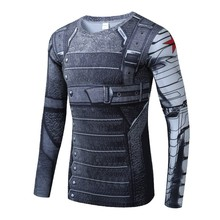 Moto New 3D Winter Soldier Avengers 3 Compression Shirt Men Summer Long Sleeve Fitness Crossfit T Shirts Male Clothing Tight Top