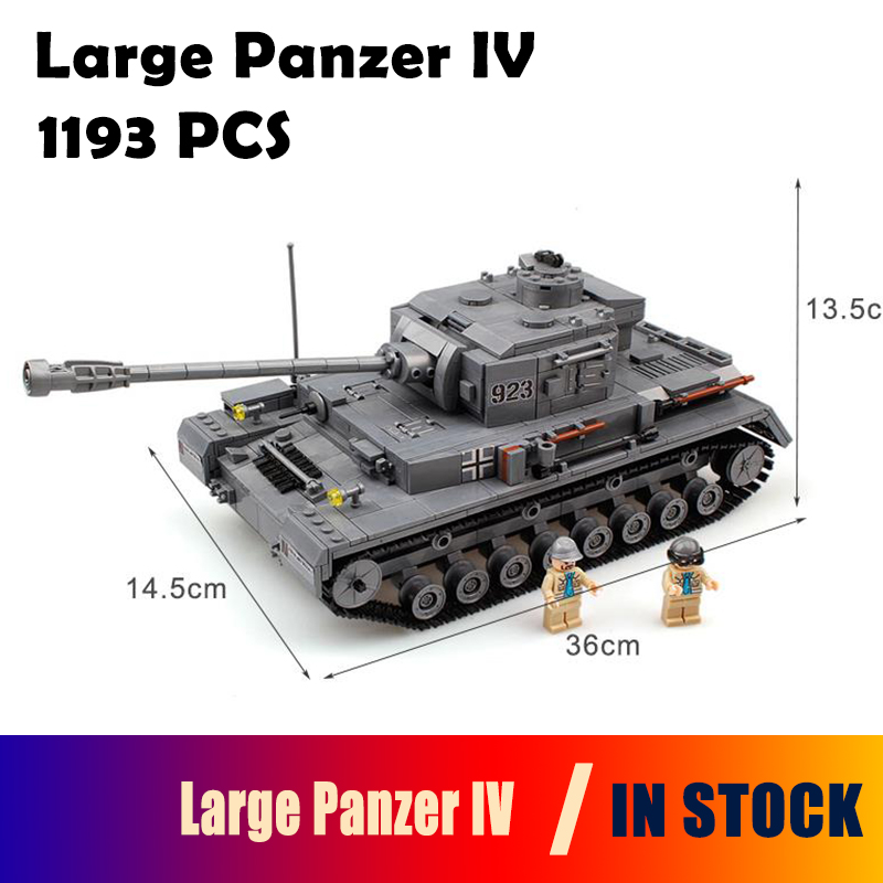 Model Building Blocks Kit Large Panzer IV F2 Tank 1193pcs Military Army Toy Tank Models & Building Bricks Compatible with lego 548pcs military ww2 german panzer iii tank ausfl primary battle tank model building block assembly toy for kid christmans gift