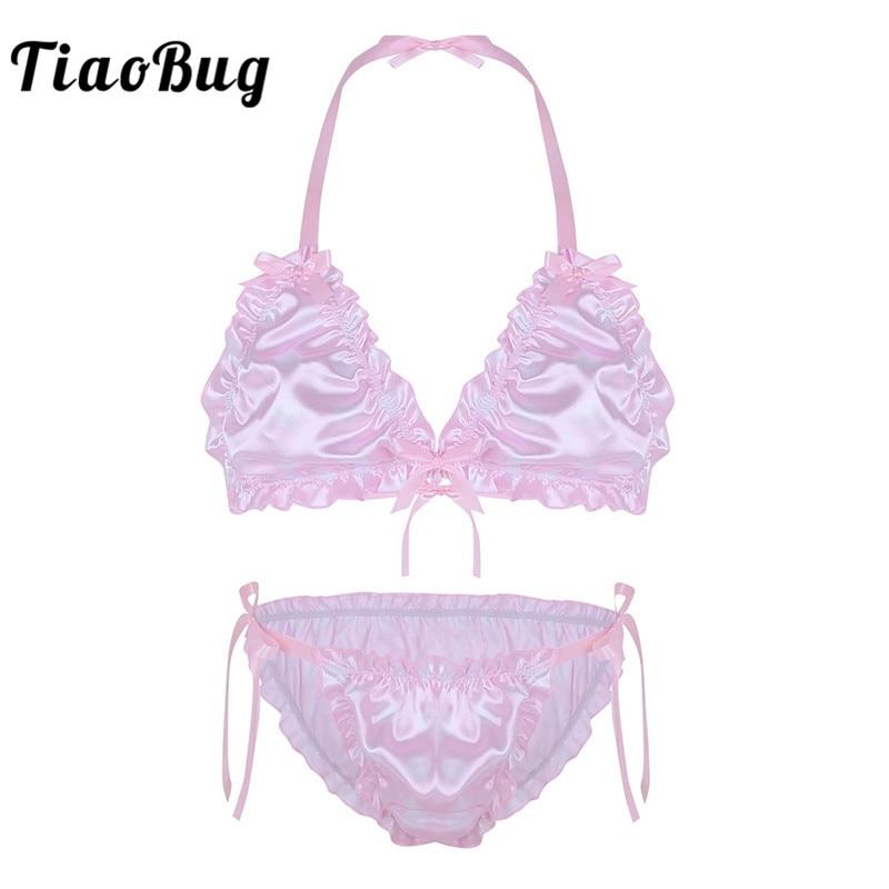 TiaoBug Mens Ruffled Frilly Shiny Smooth Polka Dots Sissy Bikini Lingerie Set Sexy Men Halter Bra Top with Briefs Underwear
