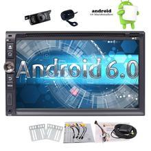"""Android 6.0 GPS dvd-плеер автомобиля двойной din 6.95 """"в тире GPS Радио приемник Поддержка Wi-Fi OBD2 MirrorLink + спереди и резервного копирования Камера"""