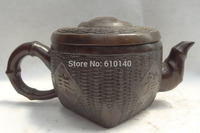 10' China Bronze Buddhist Knit Weave Style Statue Granary Teapot Wine Pot