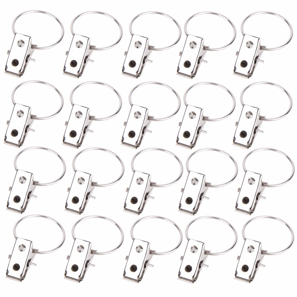20pcs/pack Window Shower Curtain Rod Clips Rings Stainless Steel Drapery  Clips(China (  Curtain Rod Rings