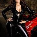 2016 Черная Кожа Sexy Body Костюмы для Женщин ПВХ Эротика Купальника Костюмы Латекс Боди Комбинезон Женщины Мокрый Вид Bodycon