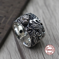 S925 Sterling Silver Men's Ring Personality style classic retro simple Engraved dragon opening shape Send a gift to love