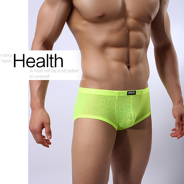 Brand MIBOER Net yarn jacquard lace sexy fashion Underwear Men's Boxers Shorts Sexy Gauze Men Panties Sexy Trunks for Men 349