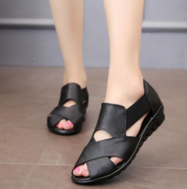 2019 Sommer Gladiator Rom Casual Sandalen Frauen Schuhe Sandalia Feminina Echtes Leder Keil Ferse Komfort Sandalen Weiche Schuhe