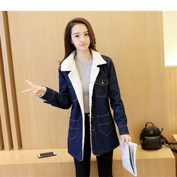 Han edition 2017 fashion women tops Denim fabrics of high thermal lambs wool  women coat Long sleeve nirvana trench coat xf010 6