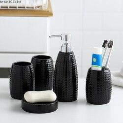 Bagno in ceramica cinque pezzi Nordic semplice bagno forniture spazzolino bottiglia di lozione titolare spazzola set di lavaggio della tazza