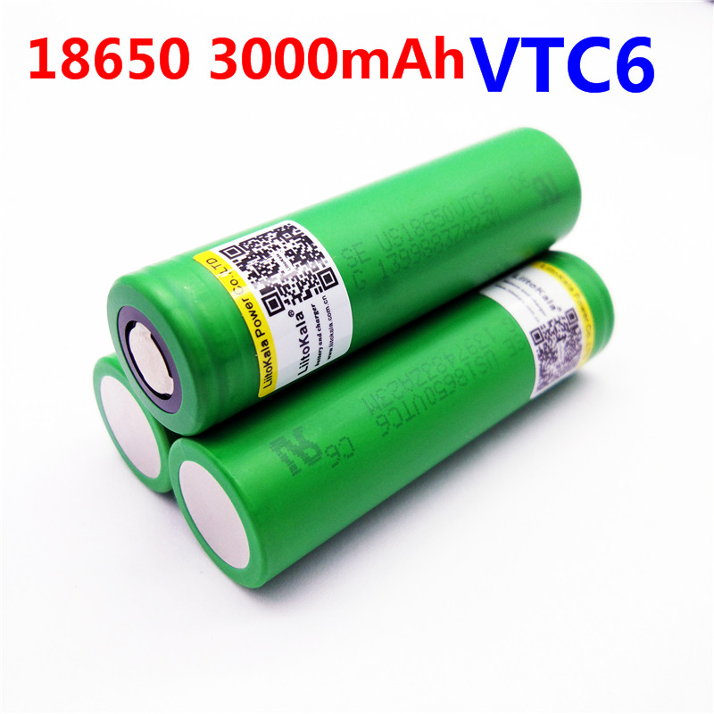 3pcs Liitokala VTC6 battery US18650VTC6 3000mAh 3.7v 30A high drain lithium 18650 rechargeable batteries for Sony e-cigarette hot sale natural black unprocessed body wave front lace brazilian wig human hair 2015 new full lace wigs for black women