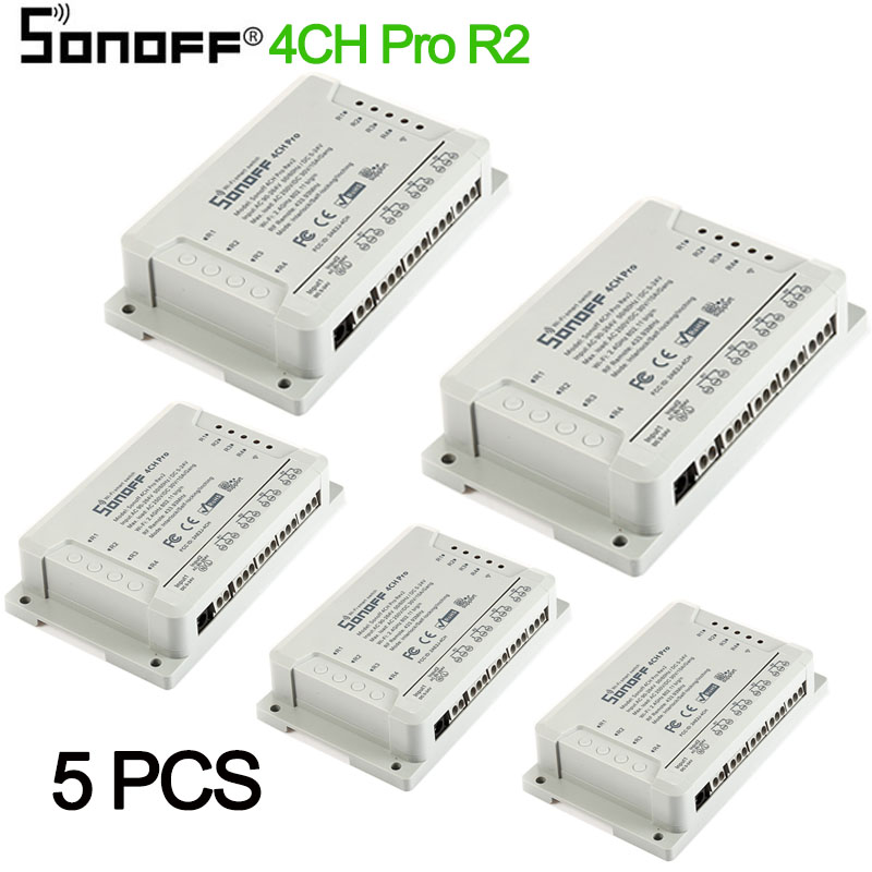 1-5PCS Sonoff 4CH pro R2 10A 4 Channel Wifi Smart Switch 433 MHZ RF Remote Wifi Lights Switch Supports 4 Devices Work with Alexa