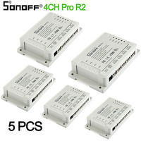 5PCS Sonoff 4CH pro R2 10A 4 Channel Wifi Smart Switch 433 MHZ RF Remote Wifi Lights Switch Supports 4 Devices Works with Alexa
