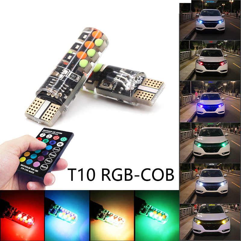 Niscarda 2x T10 W5W RGB LED Bulbs Remote Control COB-18 Silicone Shell Strobe Flash Auto Reading Lamp Car Headlight Light