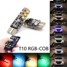 Niscarda 2x T10 W5W RGB Led lampen Fernbedienung COB 18 Silikon Shell Strobe Flash Auto Lesen Lampe Auto scheinwerfer Licht