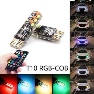 Image 1 - Niscarda 2x T10 W5W RGB Led lampen Fernbedienung COB 18 Silikon Shell Strobe Flash Auto Lesen Lampe Auto scheinwerfer Licht