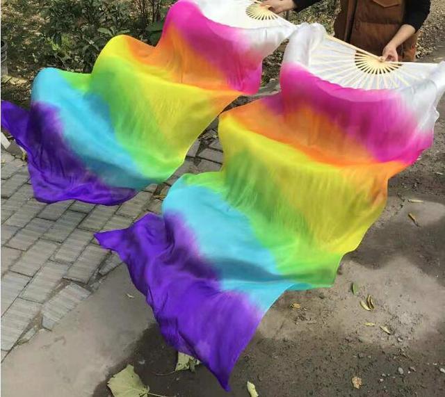 Yeni varış sıcak satış gökkuşağı oryantal dans ipek yelpaze Veils el boyası canlı işık Fan peçe çift degrade 120cm 180cm profesyonel