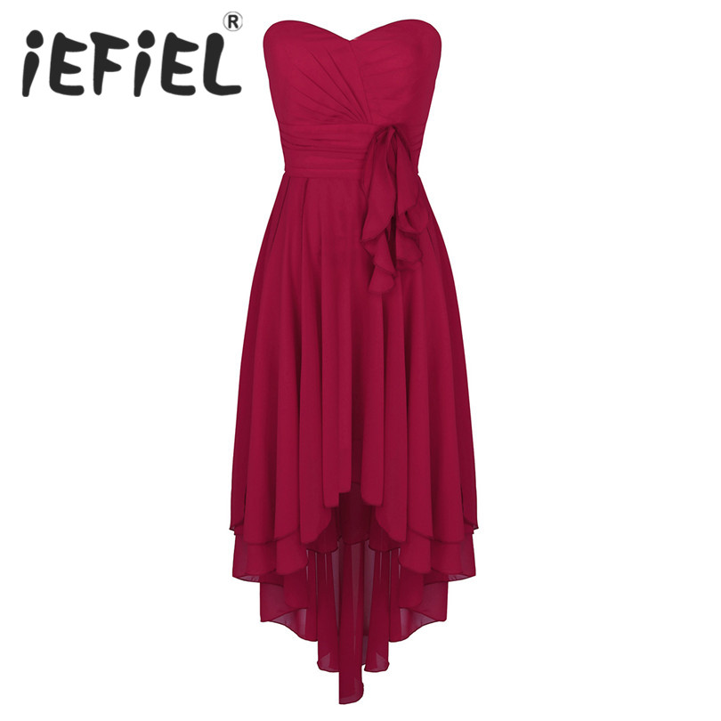 iEFiEL Summer Style Elegant Chiffon Party Dress Women V Neck Ball Gowns Dress Sleeveless Bridesmaid Formal Party Tulle Dresses