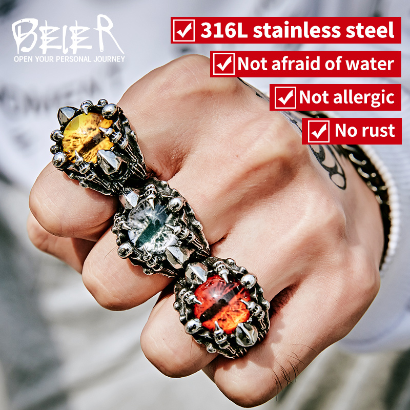 BEIER Punk Rock Claw with three Zircon stone evil eye CZ ring men anniversary Biker Skull jewelry christmas Gift BR8-479 alloy tooth eye rock ring