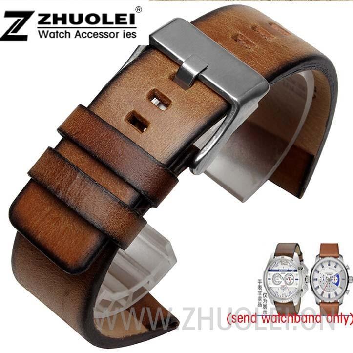22mm 24mm 26mm Watchband for Diesel DZ7374 watch High Quality Retro Brown Genuine Leather Strap Bracelets Sport Watch Strap