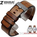 Hot New High Quality Retro Brown Genuine Leather Watch Bands Strap Bracelets 24mml Sport Watch Strap