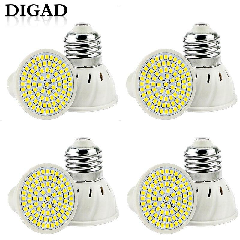 Digad 4pcs/set E27 Led Bulb Gu10 Led Lamp 220v Smd 2835 Mr16 Spotlight 48 60 80leds Warm White Cold White Lights For Home Lamp 50% OFF Light Bulbs Lights & Lighting