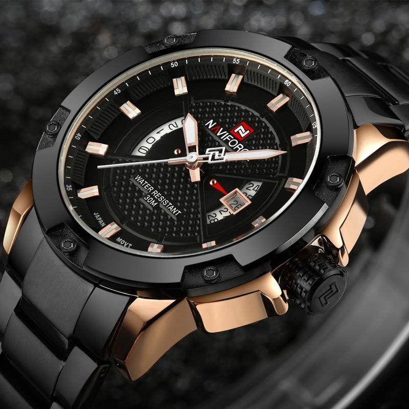 Men Watches Top Luxury Brand NAVIFORCE Men Full Steel Watches Quartz Watch Analog Waterproof Sports Army Military WristWatch analog watch