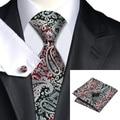 SN-359 Gris Claro Rojo Negro Paisley Corbata Hanky Gemelos Juegos de Los Hombres 100% Corbata de Seda para hombres Formales Del Banquete de Boda Del Novio