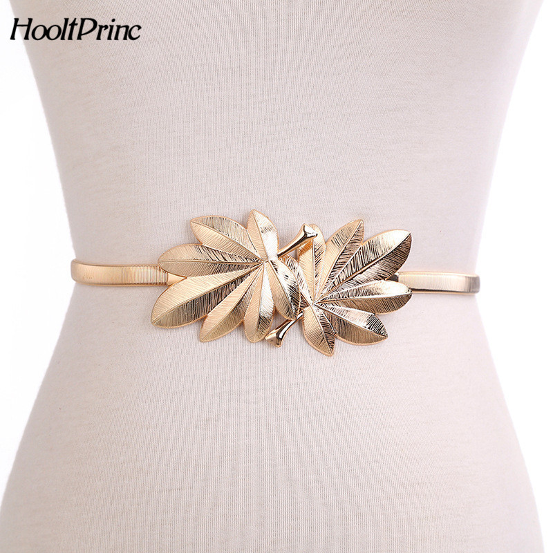 Brandgold Leaf Shape Wedding Designer Elastic Belts For Women Girl,Stretch Skinny Waist Belt Cummerbunds Metal Female Belt