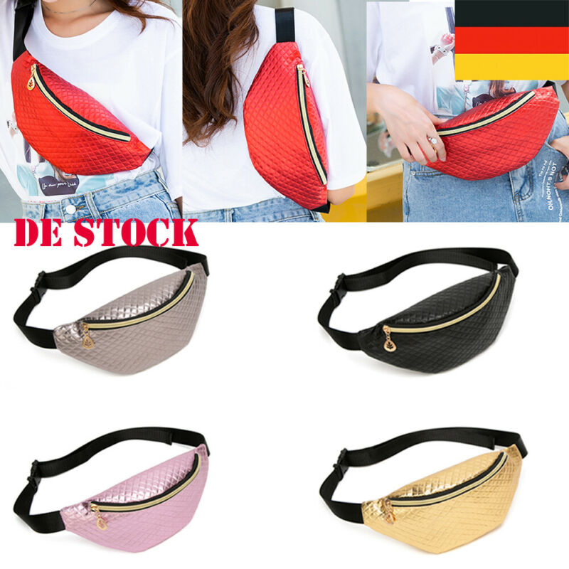 Plaid PU Leather Waist Bags Women Fanny Pack Female Belt Bag Black Gold Geometric Waist Packs Laser Chest Phone Pouch