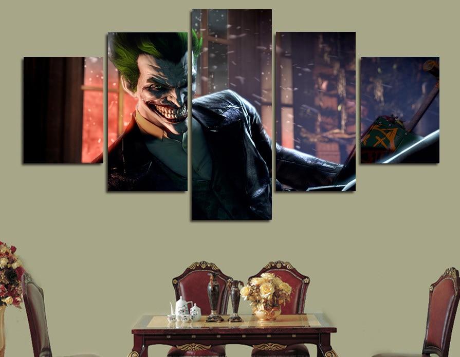 5 pcs framed printed comics batman arkham asylum painting on canvas room decoration print poster picture