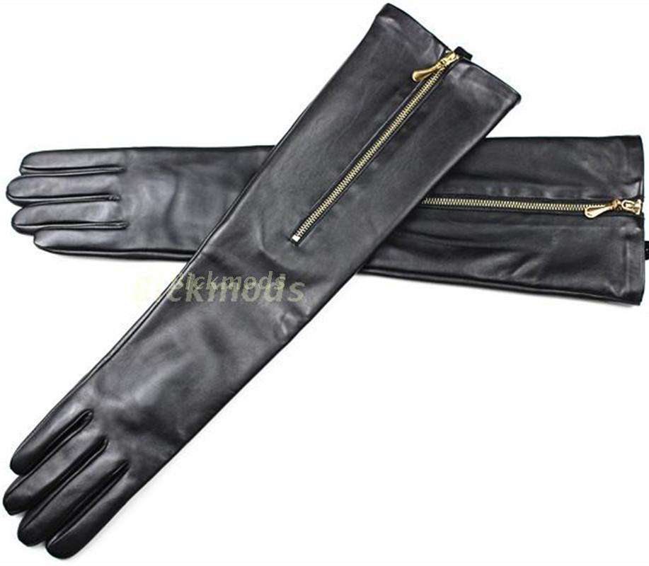 """62b6311a8fcd2a Nowa moda na zamek błyskawiczny, proszę kliknąć na przycisk """" długie  skórzane rękawiczki rękawice z owczej skóry kobiet jesień i zima ciepłe  cienkie ..."""