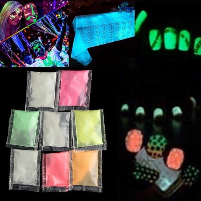 1Bag New Popular Neon Phosphor Powder 10 Colors Nail Glitter Powder Dust Luminous Pigment Fluorescent Powder Nail Glitters Glow