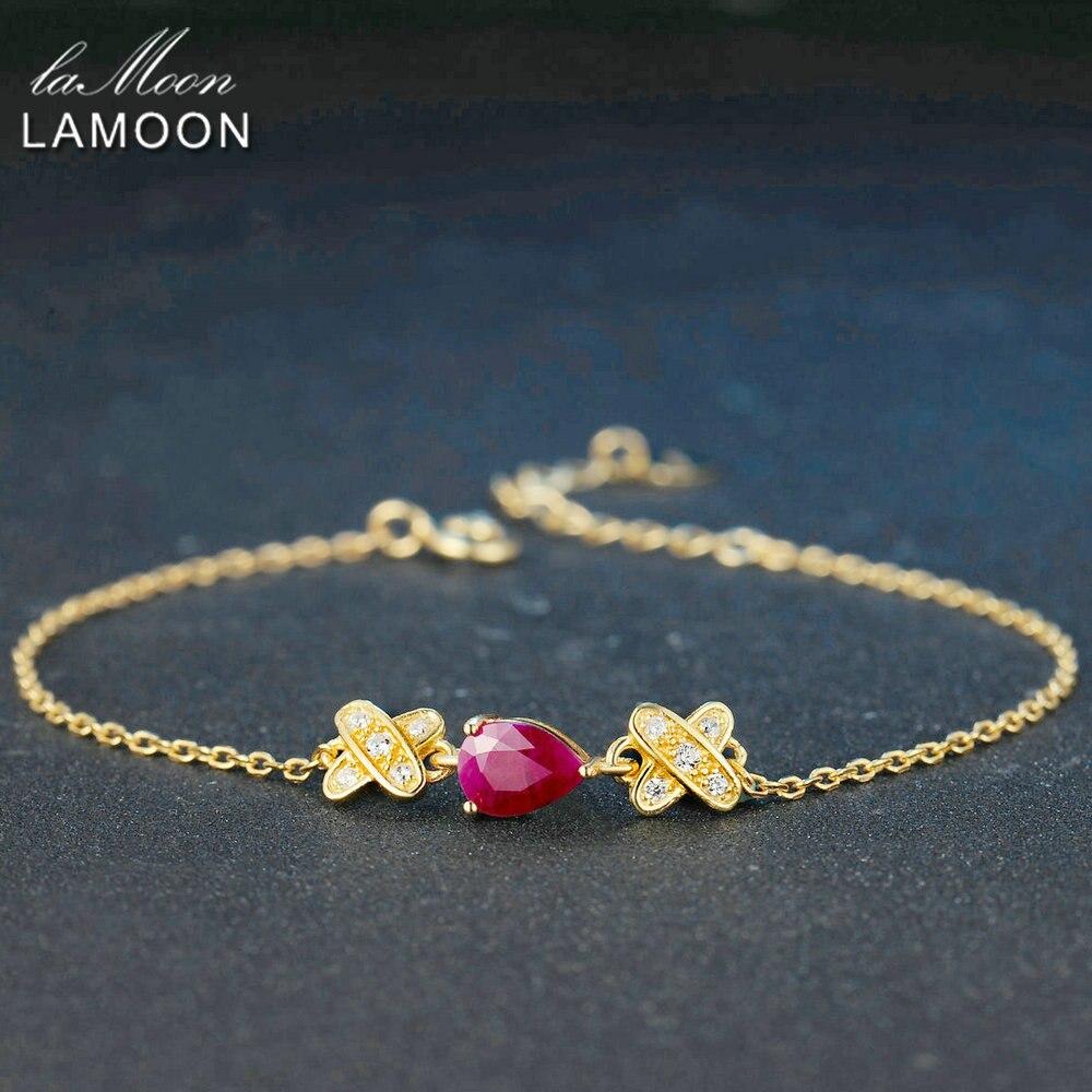Lamoon индийские свадебные красный рубин браслет для Для женщин 925 стерлингов Серебряные ювелирные изделия 14 К желтый позолоченный браслет-це...