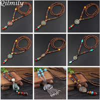 Qilmily Retro Ethnic Wood Lotus Buddha Statue Pendant Necklaces for Women Nepalese Mantra Wooden/Glass Beads Sweater Chain Gifts