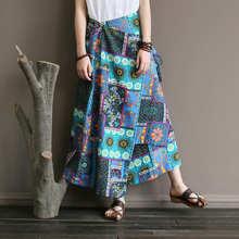 Johnature Vintage Print Skirts New Women Irregular 2018 Summer High Waist Lace-Up A-Line Ankle-Length Cotton Linen Skirts