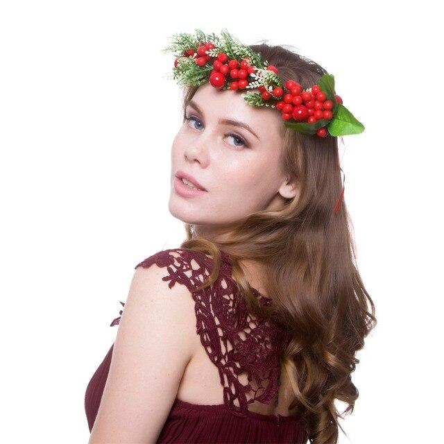 ce8e7847605 2018 Fashion Women Flowers Hair Accessories Christmas Flower Crown Bridal Floral  Headband Girl Wreath HairBands diadem