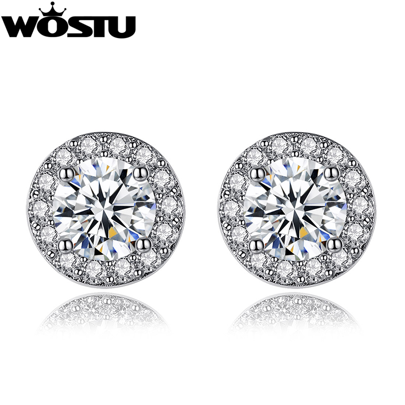 Hot Simple Silver Cold Round Shape Stud Earrings with AAA Zircon for Women Anniversary Fashion Jewelry XCNE092 pair of hot sale stunning fashion style magnetic crown shape stud earrings