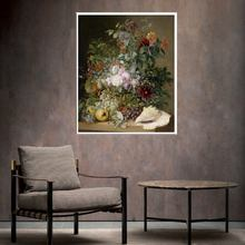 Conch Flowers and Fruits Still Life Painting Canvas Art Printed for Modern Home Decoration High Quality Wall Decor Color 1PC