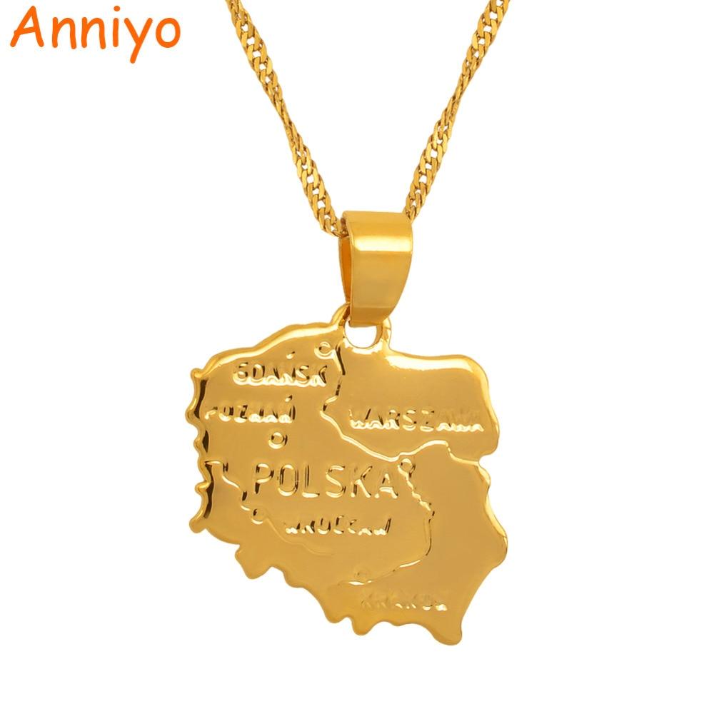 Anniyo map polska necklace pendants for women gold color jewelry map of poland chain fashion #004010 anniyo turkey map