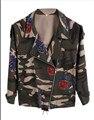2016 nueva moda Vintage de camuflaje del ejército verde de manga larga Denim chaquetas cremallera estampado de flores abrigos de primavera ropa W241