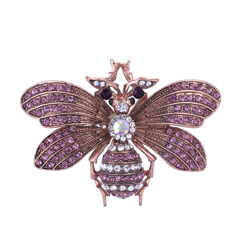 New Crystal Brown Violet Color Bee Brooches For Women And Men High Quality Suits Dress Sweater Brooch Pins Hat Collar Pin Gift