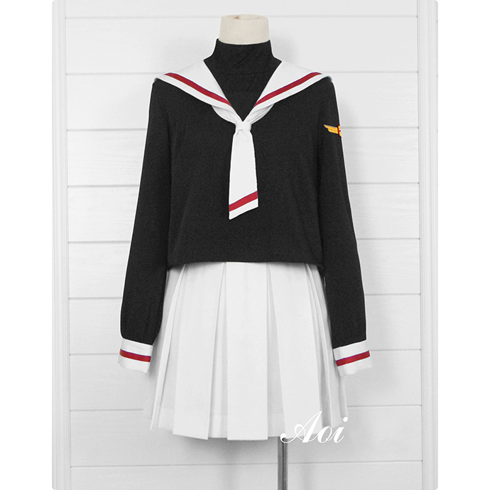 Japonais Anime carte Captor Sakura noir école uniforme Cosplay magique carte fille sakura Costume chapeau ensemble