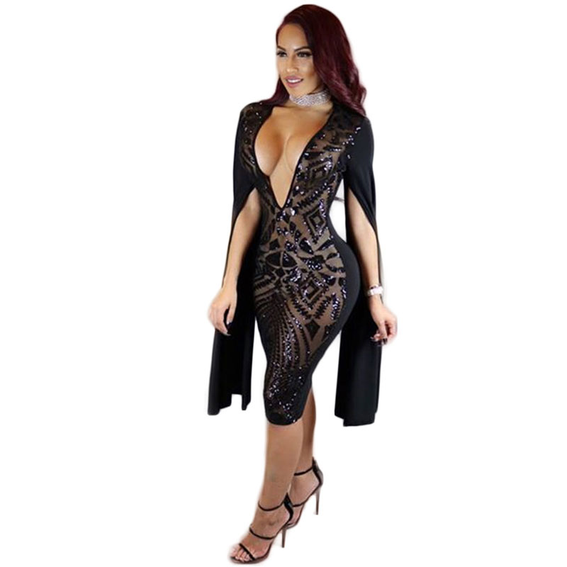 Buy Cheap 2017 European and American style summer women holiday long sleeves deep V sequins nightclub dress xhm-0009