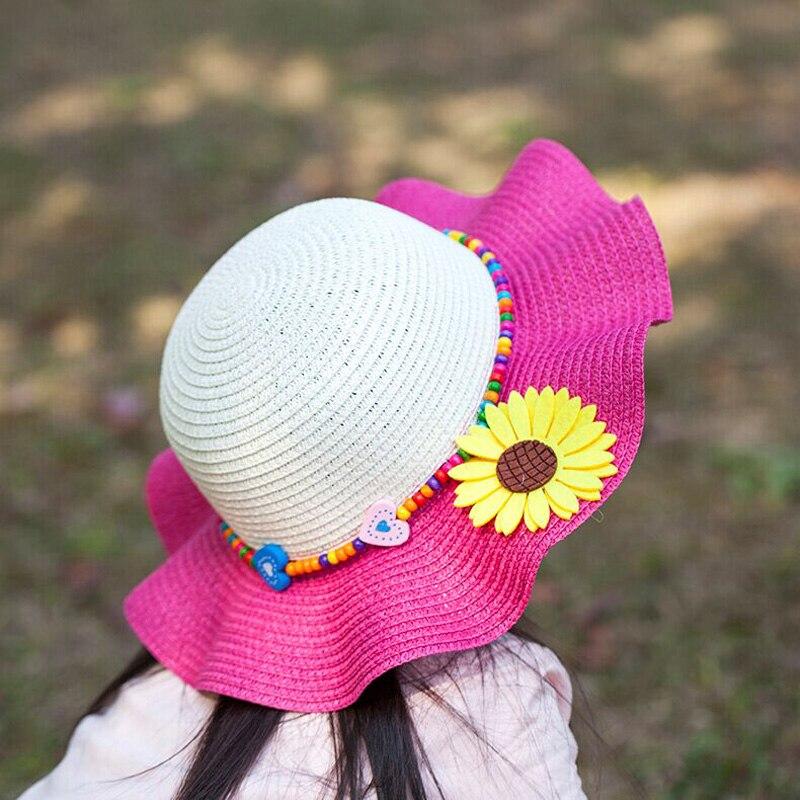4a35927a6 1 Pcs الكورية Falbala و زهرة الأطفال قبعات للحماية من الشمس أزياء الربيع  قبعات صيفية لفتاة الشاطئ قبعات من القش 7 ألوان 6154