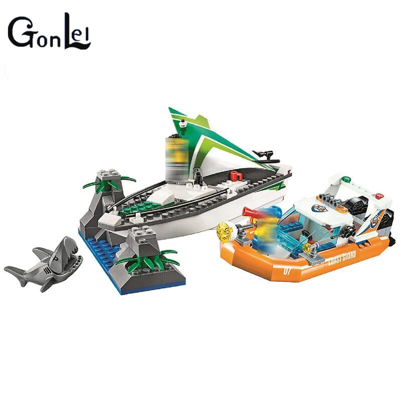(GonLeI) 206Pcs City Coast Guard Sea Sailboat Rescue Boats building blocks DIY Educational bricks toys gift for children lepin 02070 492pcs city series coast guard model building blocks bricks toys for children gift