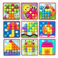 Montessori Kinder 3D Mosaik Puzzles Bord Bunte Tasten Montage Pilze Nägel Kit Baby Kinder Aufklärung Pädagogisches Spielzeug